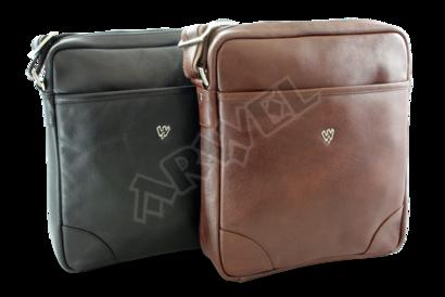 Hnědý kožený pánský crossbag