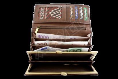 Hnědá dámská kožená rámová peněženka