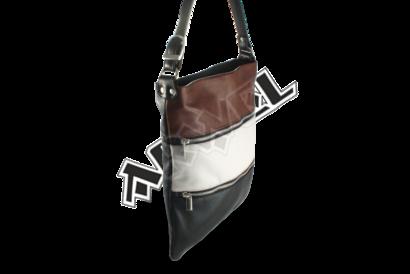 Tříbarevná kožená zipová kabelka s popruhem