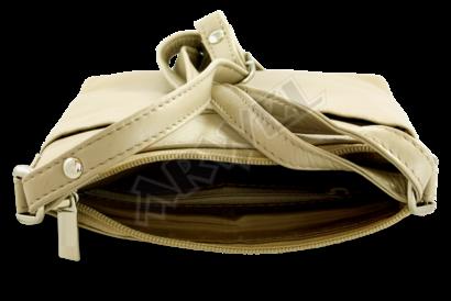 Krémová kožená zipová minikabelka