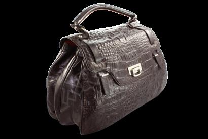 Dámská hnědá kabelka s motivem krokodýlí kůže