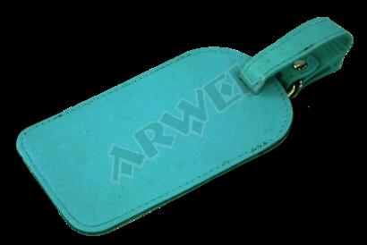 Světle modrá kožená visačka na zavazadlo