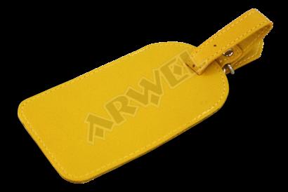 Žlutá kožená visačka na zavazadlo