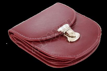 Burgundy malá dámská kožená peněženka se zámečkem