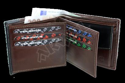 Hnědočerná pánská kožená peněženka
