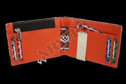 Černooranžová pánská kožená peněženka - dolarovka