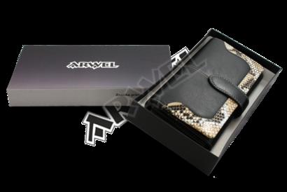 Černá dámská psaníčková peněženka se zápinkou s motivem hada