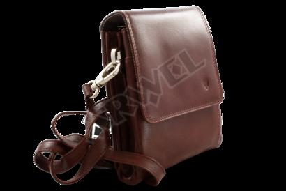 Malý hnědý kožený pánský crossbag