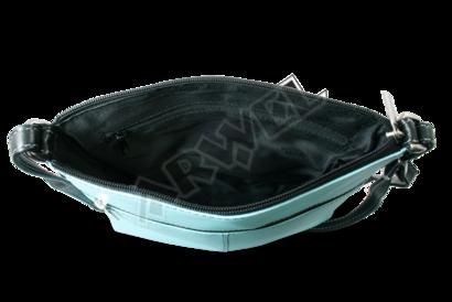 Černo-bleděmodrá kožená zipová kabelka