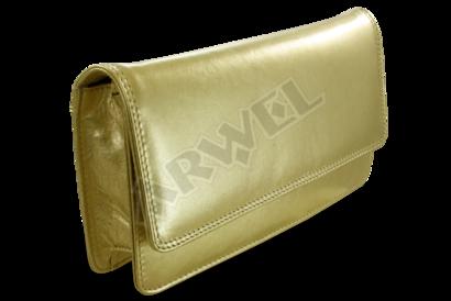 Zlaté kožené psaníčko s popruhem