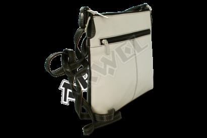 Černo-světle šedá kožená zipová kabelka