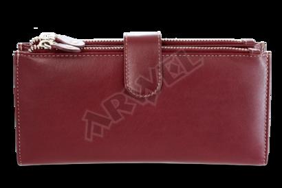 Velká kožená burgundy peněženka se zápinkou