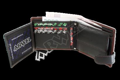 Hnědo-černá pánská kožená peněženka se zápinkou