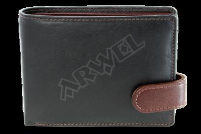 Černo-hnědá pánská kožená peněženka se zápinkou