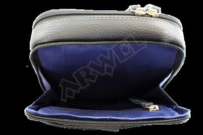 Tmavě modrý kožený crossbag