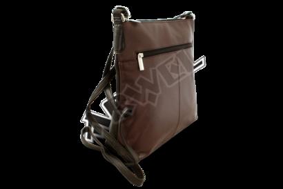 Hnědo-černá kožená zipová kabelka