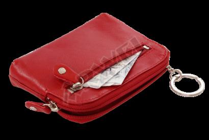 Větší červená kožená dvouzipová klíčenka