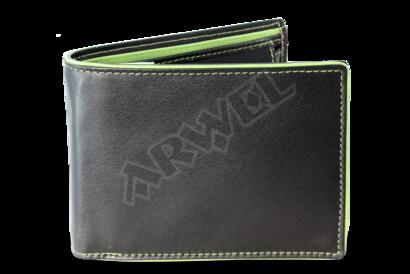 Černozelená pánská kožená peněženka