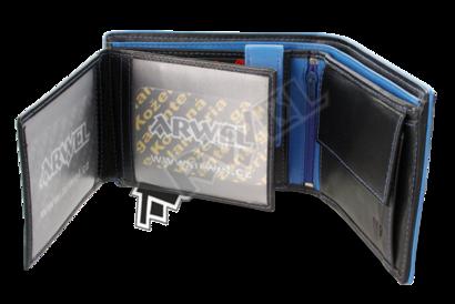 Černomodrá pánská kožená peněženka