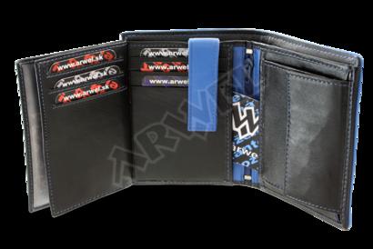 Černomodrá pánská kožená peněženka s vnitřní zápinkou