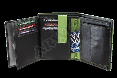 Černozelená pánská kožená peněženka s vnitřní zápinkou