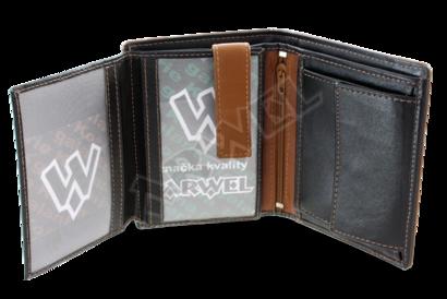Černohnědá pánská kožená peněženka s vnitřní zápinkou