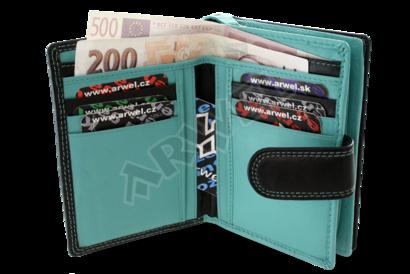Černomodrá dámská kožená peněženka se zápinkou