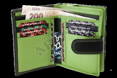 Černozelená dámská kožená peněženka se zápinkou