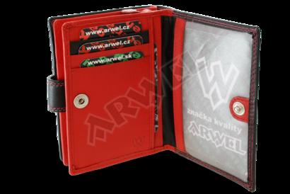 Černočervená dámská kožená peněženka se zápinkou