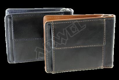 Černomodrá pánská kožená peněženka - dolarovka