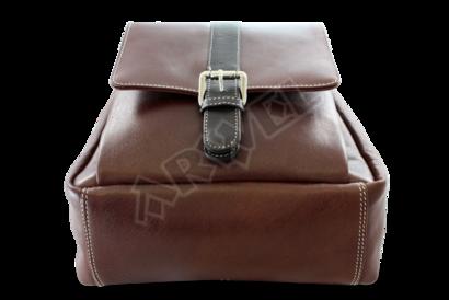 Hnědočerný kožený batoh