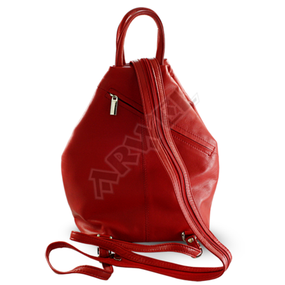 Červený kožený batůžek