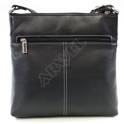 Černo-šedomodrá kožená zipová kabelka