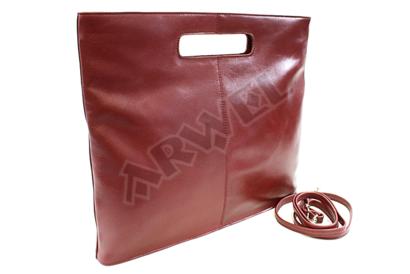 Červená kožená zipová kabelka
