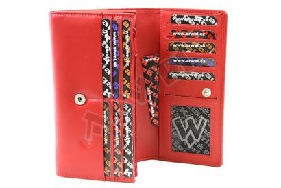 Červená dámská psaníčková kožená peněženka s klopnou