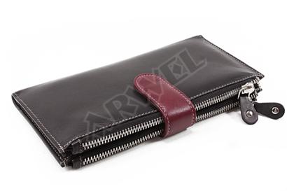 Velká kožená černá peněženka se zápinkou