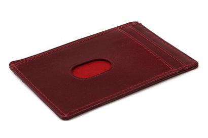 Červená jednoduchá kožená dokladovka