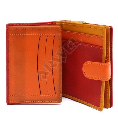 Multičervená dámská kožená peněženka se zápinkou