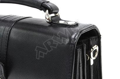 Černá pánská kožená etue se sklápěcím registrem a držadlem