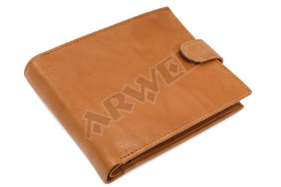Koňakovohnědá pánská kožená peněženka se zápinkou