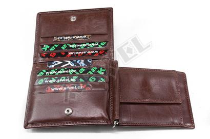Tmavě hnědá pánská kožená peněženka - dolarovka