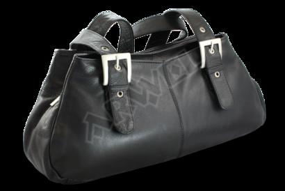 Černá kožená trojzipová kabelka