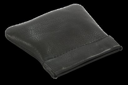 Černá kožená kapsa na mince s pružinou