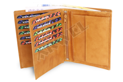 Světle hnědá pánská kožená peněženka a dokladovka