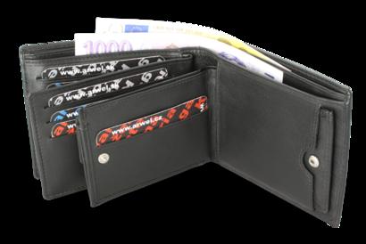 Černá pánská kožená peněženka s vloženou dokladovkou
