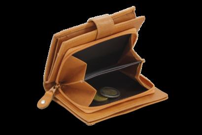 Světle hnědá dámská kožená peněženka se zápinkou