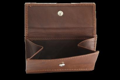 Tmavě hnědá dámská kožená mini peněženka