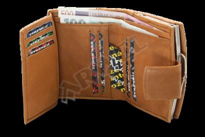 Světle hnědá dámská kožená rámová peněženka se zápinkou