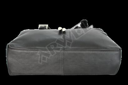 Černá kožená dvouzipová kabelka se dvěma popruhy