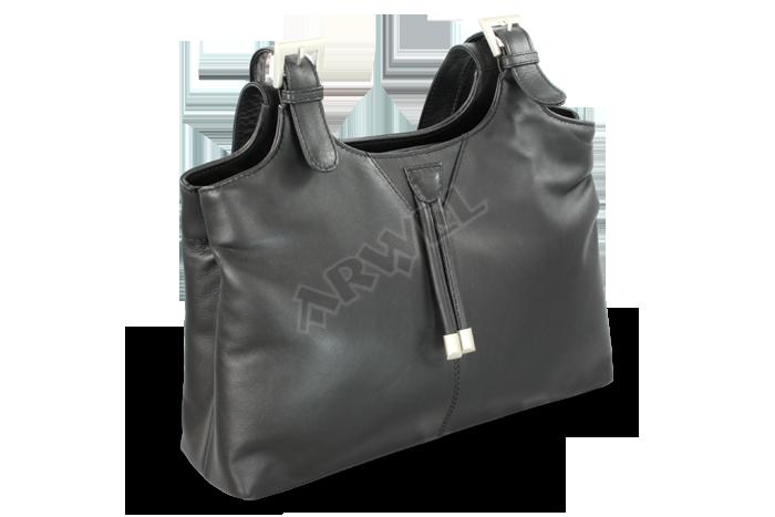 d80e5f2c04d Kožená dvouzipová kabelka Arwel 212-7019 se dvěma popruhy v černé barvě